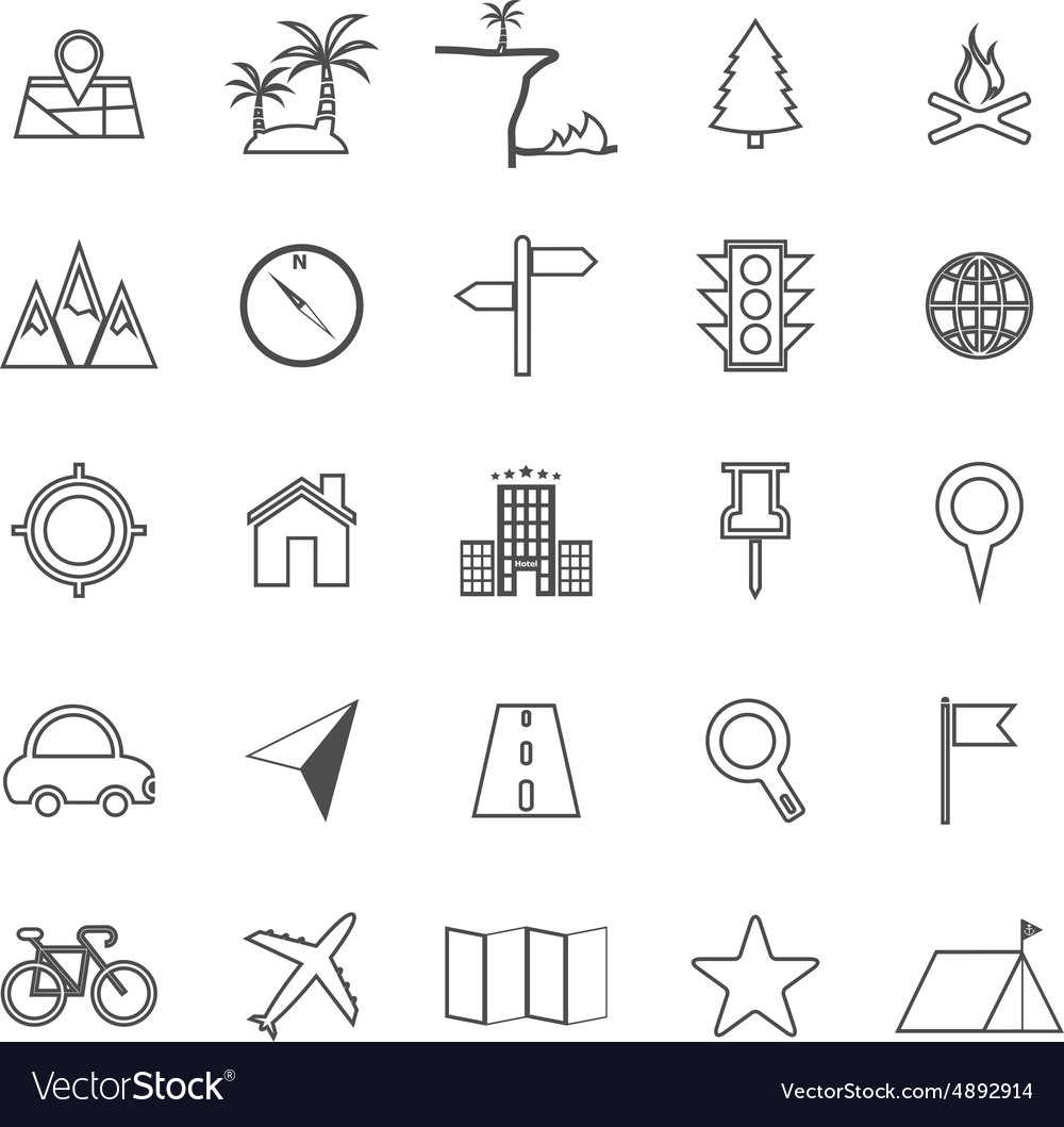 Location line icons on white background vector