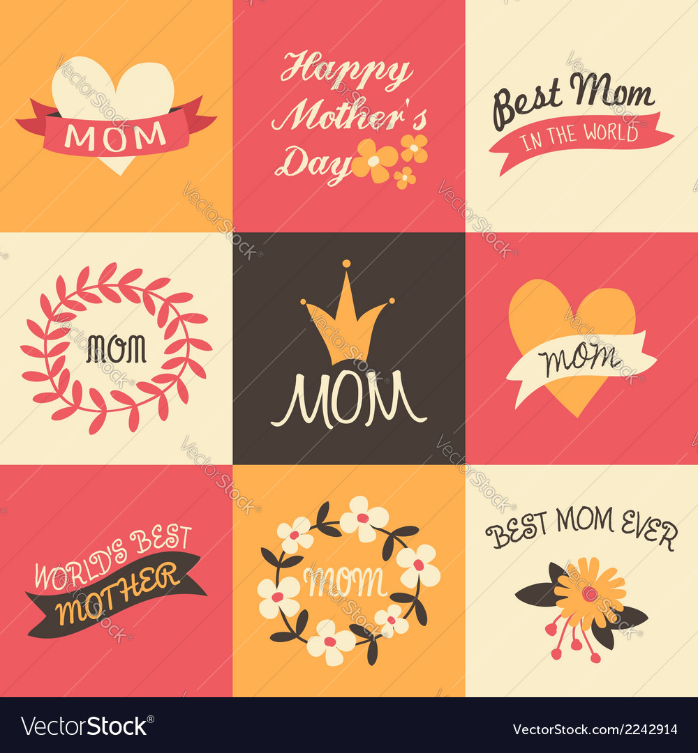 Mothers day vintage design greeting cards set vector | Price: 1 Credit (USD $1)
