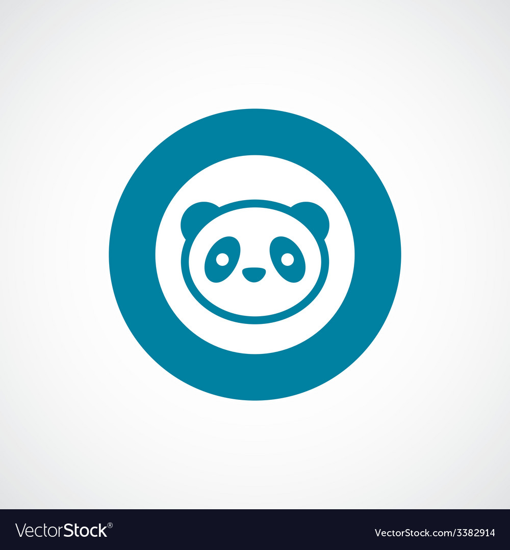 Panda bold blue border circle icon vector | Price: 1 Credit (USD $1)