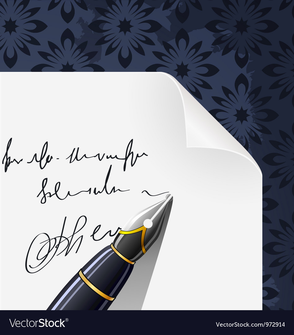 Piece of paper blank contract with ink pen vector | Price: 1 Credit (USD $1)