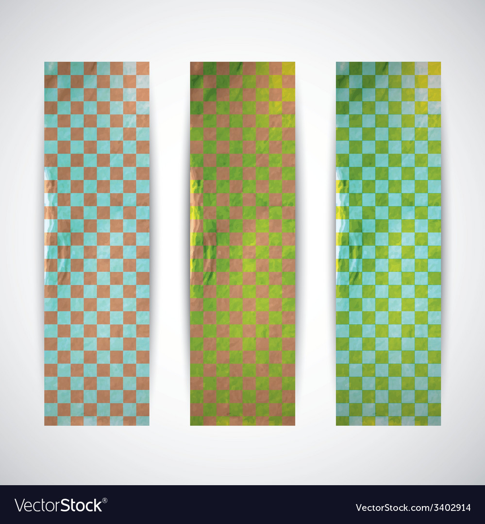 Set of checkered banners with cardboard texture vector | Price: 1 Credit (USD $1)