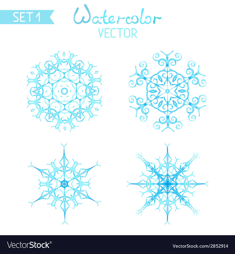 Set of watercolor snowflakes isolated on white vector | Price: 1 Credit (USD $1)