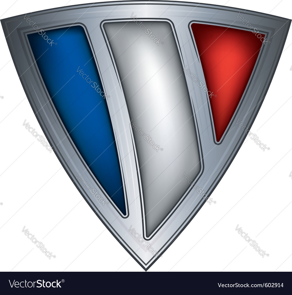 Steel shield with flag france vector | Price: 1 Credit (USD $1)
