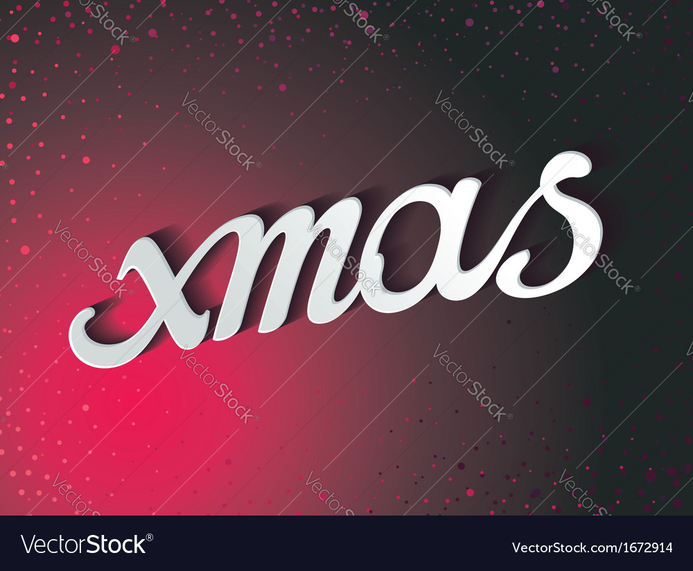 Stylized white lettering xmas with 3d effect vector | Price: 1 Credit (USD $1)
