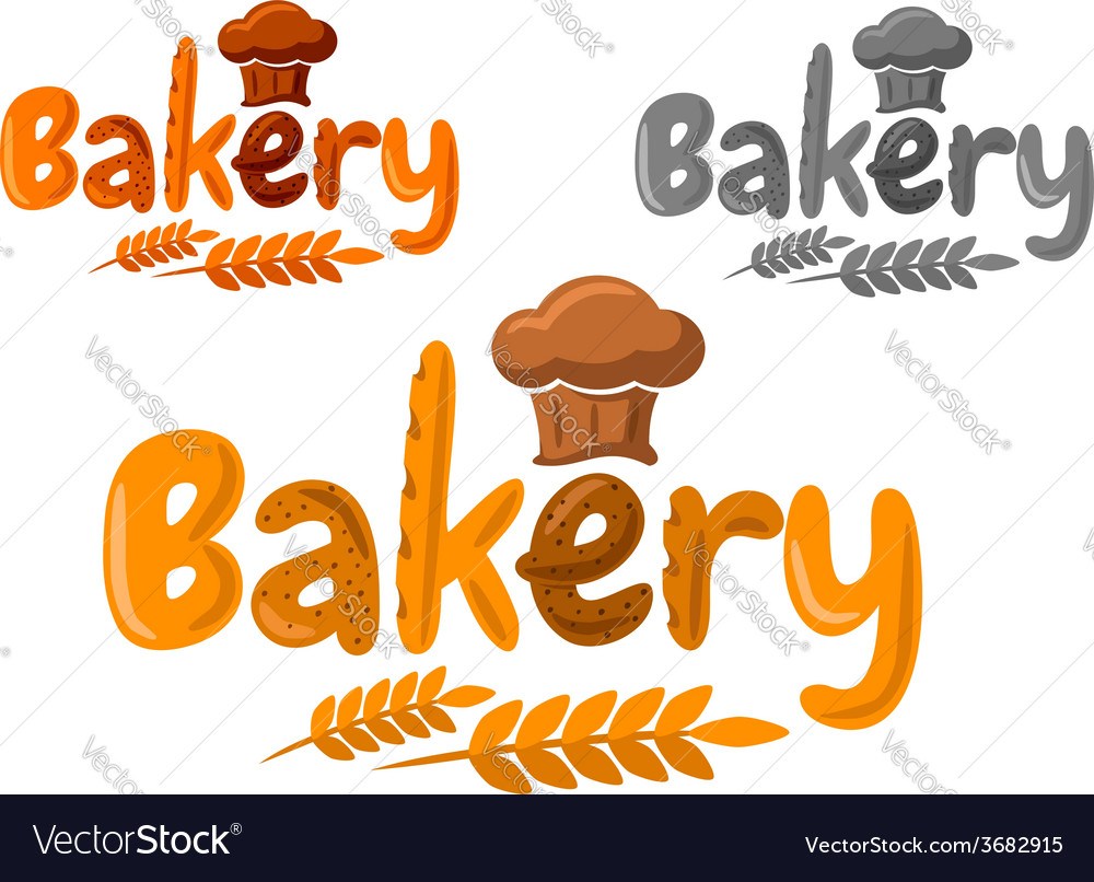 Bakery emblem or logo made of baking in cartoon vector | Price: 1 Credit (USD $1)
