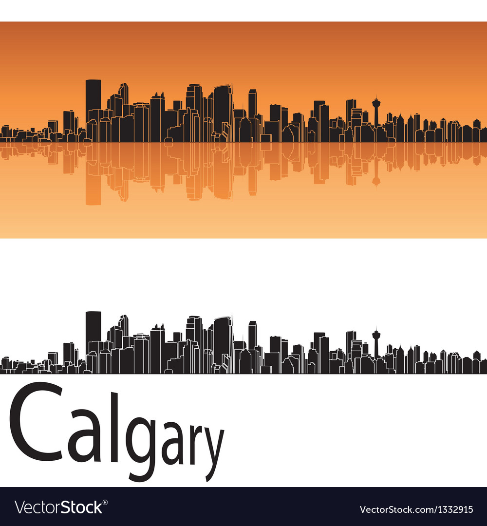 Calgary skyline in orange background vector | Price: 1 Credit (USD $1)