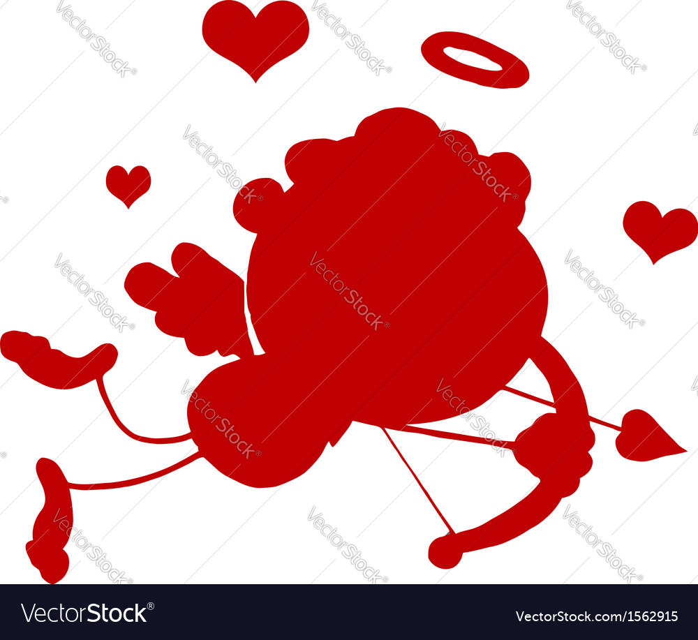 Cupid silhouette cartoon vector | Price: 1 Credit (USD $1)
