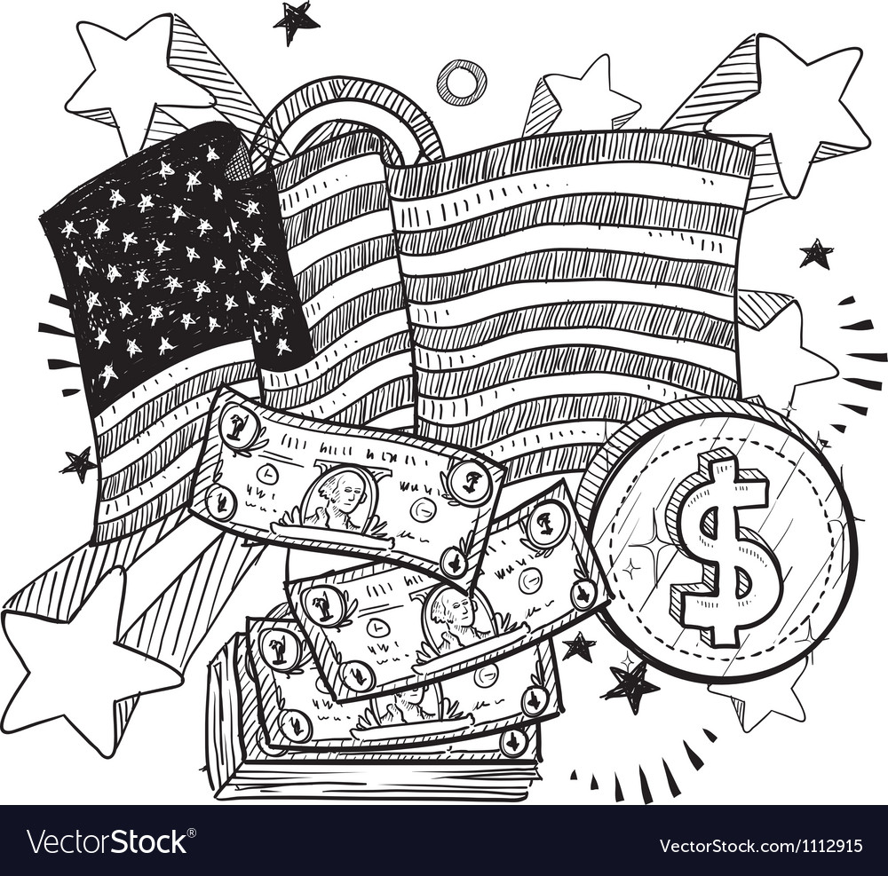 Doodle americana money bw vector | Price: 1 Credit (USD $1)