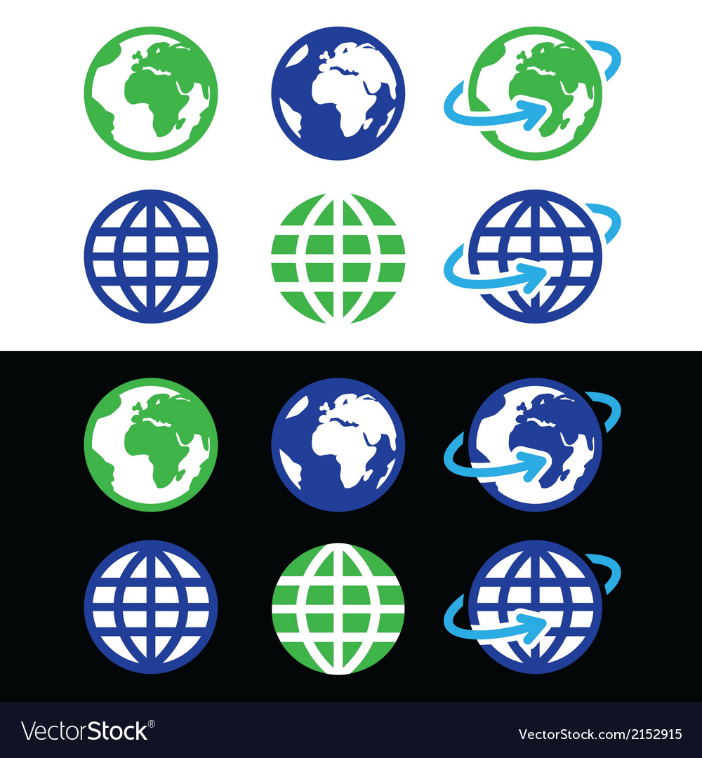 Globe earth icons in color vector | Price: 1 Credit (USD $1)