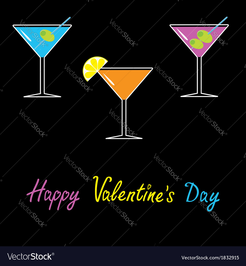 Martini set black background happy valentines day vector | Price: 1 Credit (USD $1)