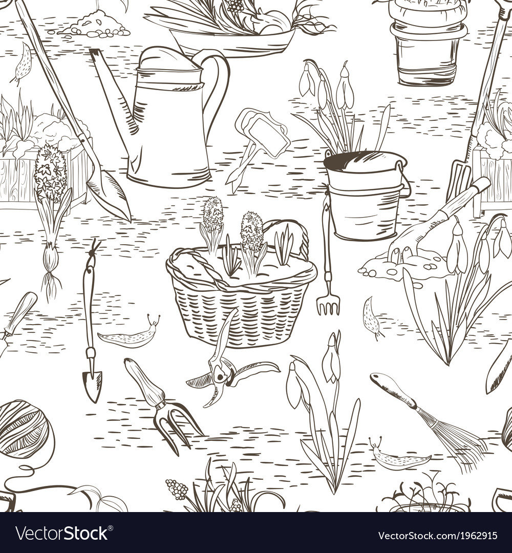 Seamless sketch with gardening tools vector | Price: 1 Credit (USD $1)