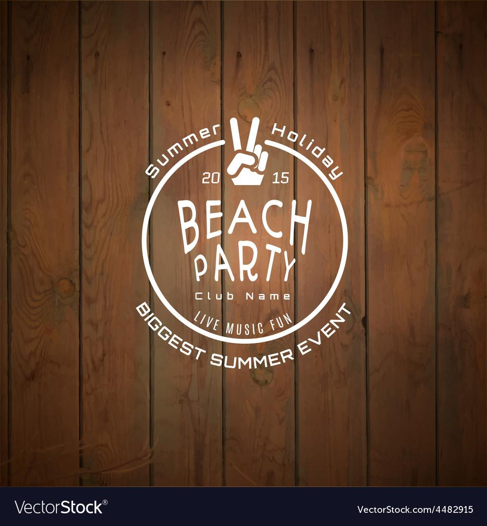 Summer biggest event label logo on wooden vector | Price: 1 Credit (USD $1)