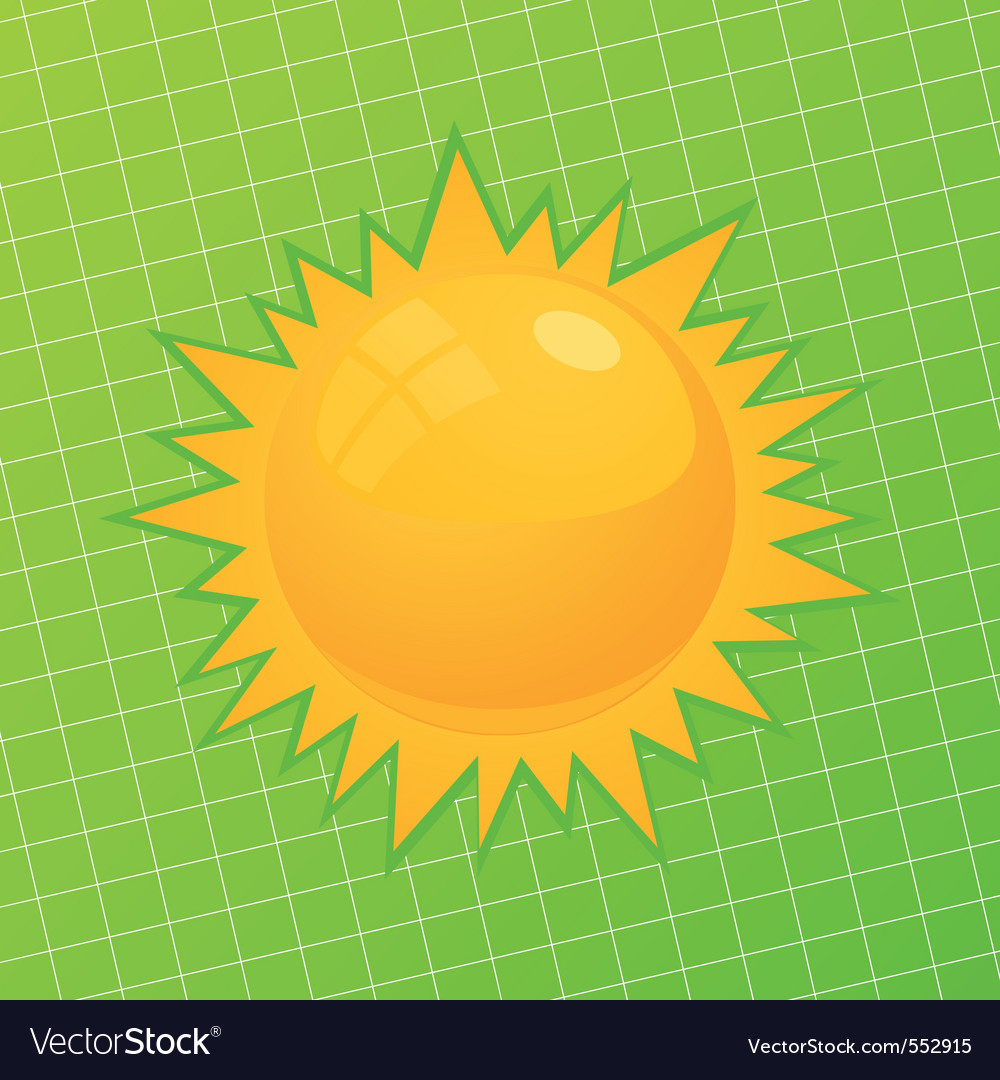 sun on a green background a vector illustra vector | Price: 1 Credit (USD $1)