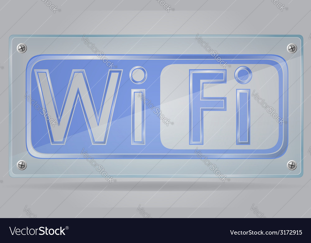 Transparent sign wi fi on the plate 02 vector | Price: 1 Credit (USD $1)