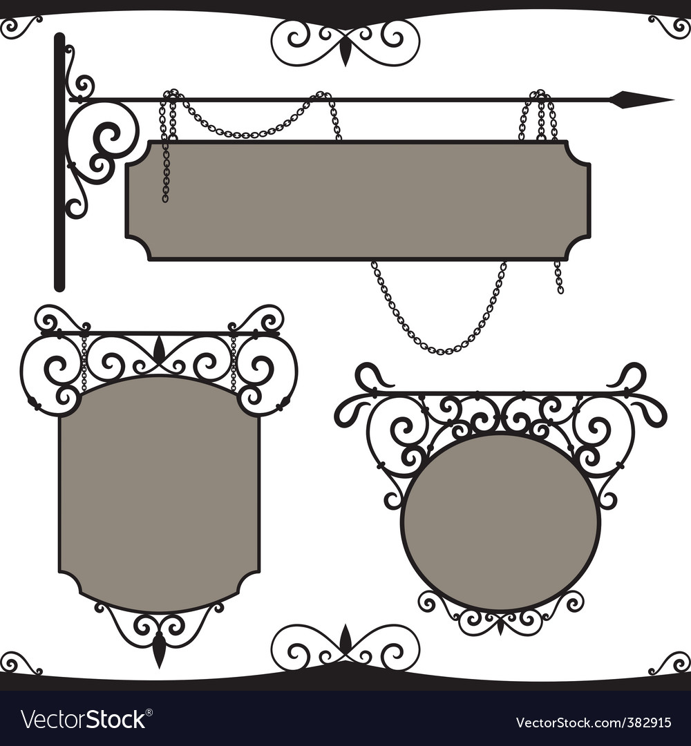 Vintage wrought iron signs vector | Price: 1 Credit (USD $1)