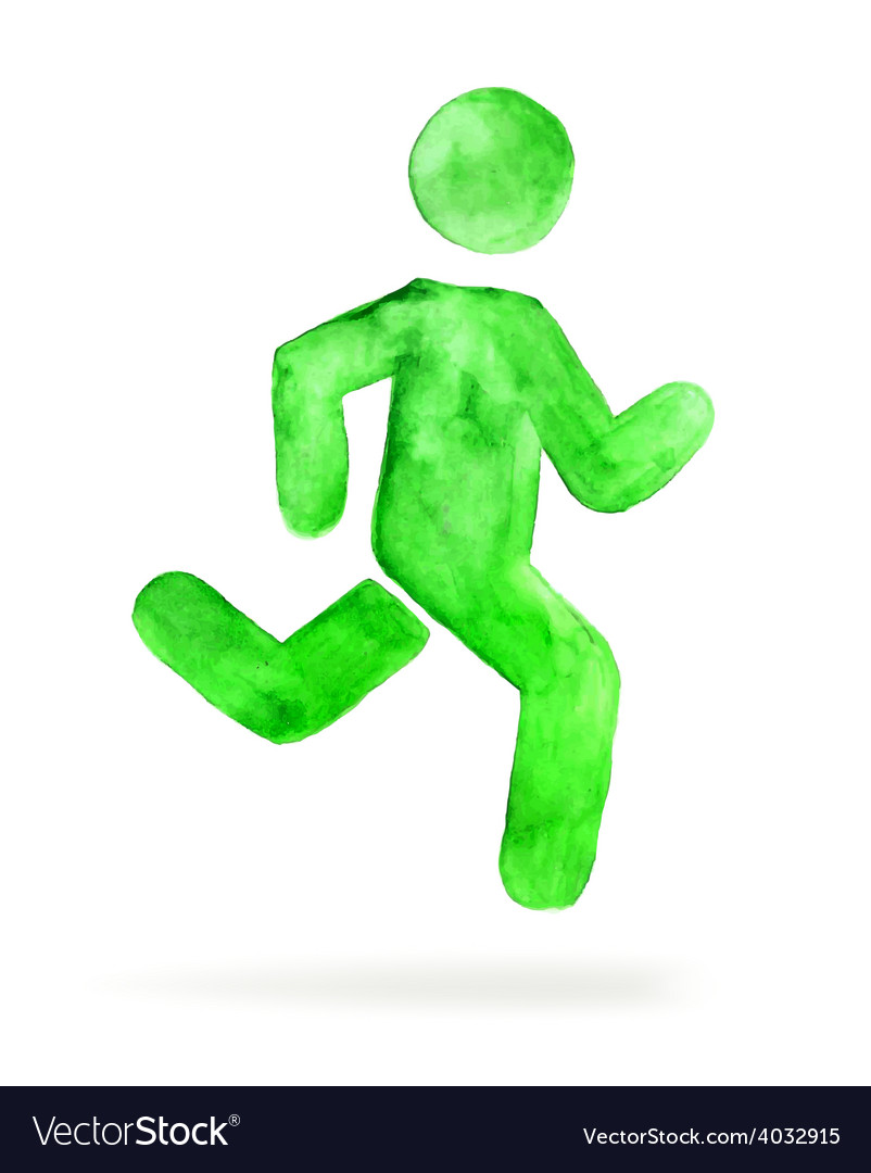 Watercolor stickman running man vector | Price: 1 Credit (USD $1)