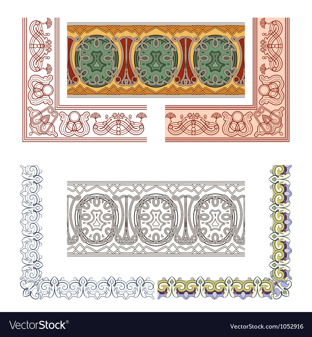 Art nouveau seamless borders vector | Price: 1 Credit (USD $1)