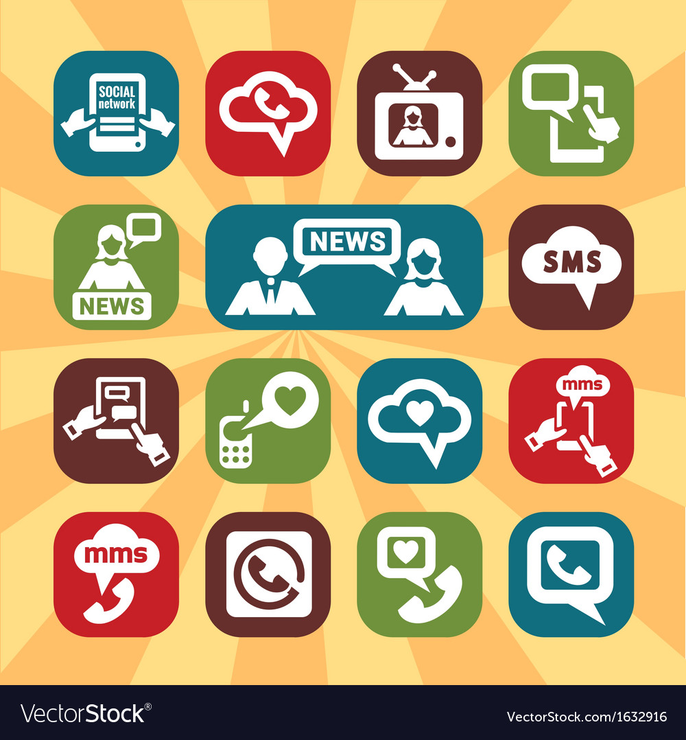 Color communication icons vector | Price: 1 Credit (USD $1)