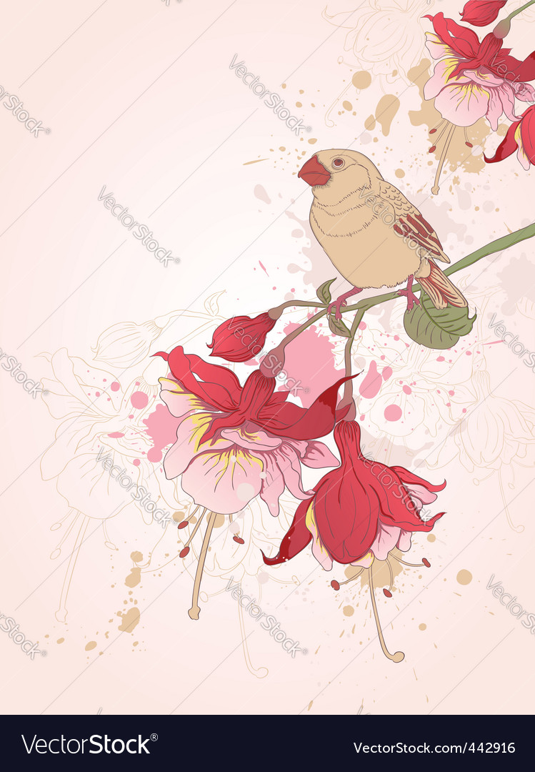 Floral background with bird vector | Price: 1 Credit (USD $1)