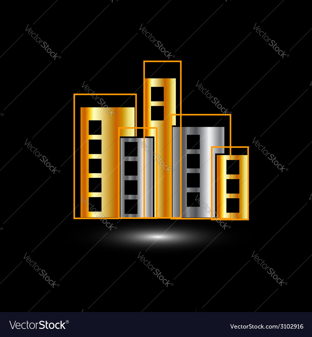 Gold and silver skyscrapers vector | Price: 1 Credit (USD $1)