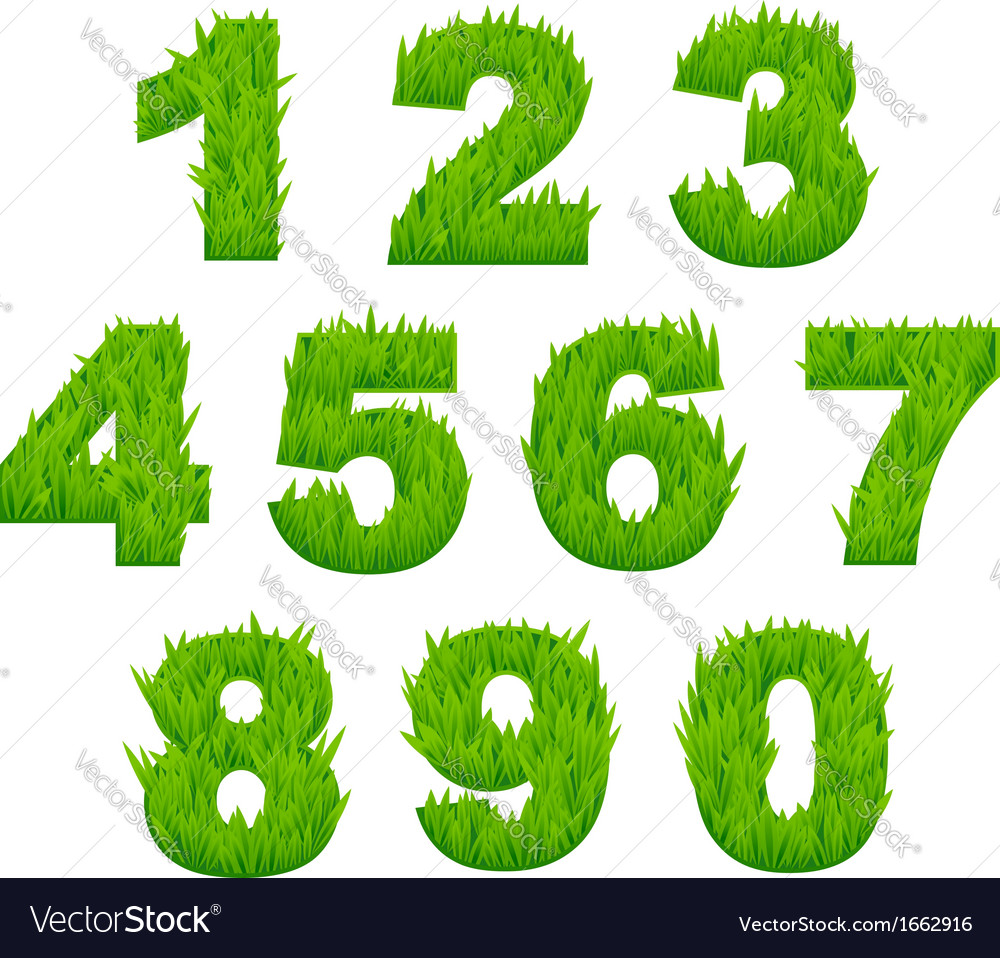 Grass numbers and digits vector | Price: 1 Credit (USD $1)