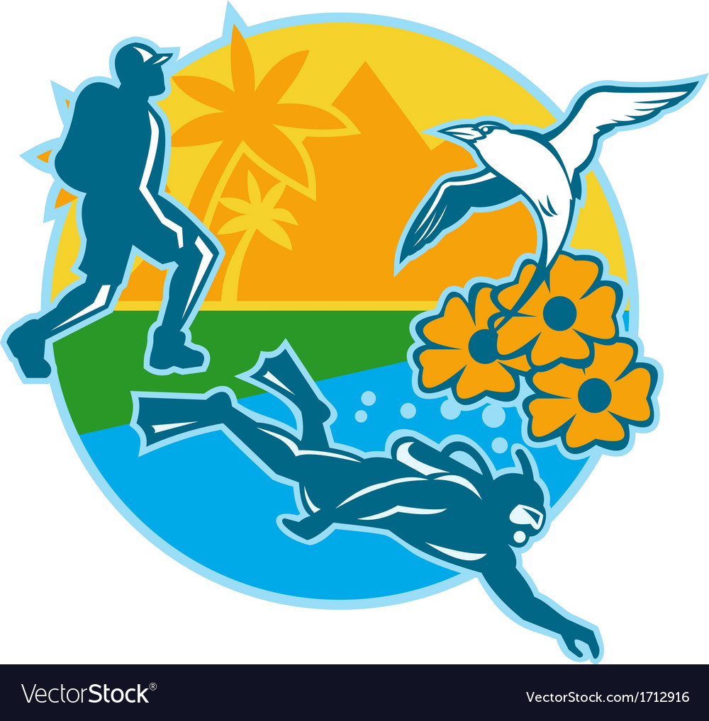 Hiker scuba diver island tropicbird flowers retro vector | Price: 1 Credit (USD $1)