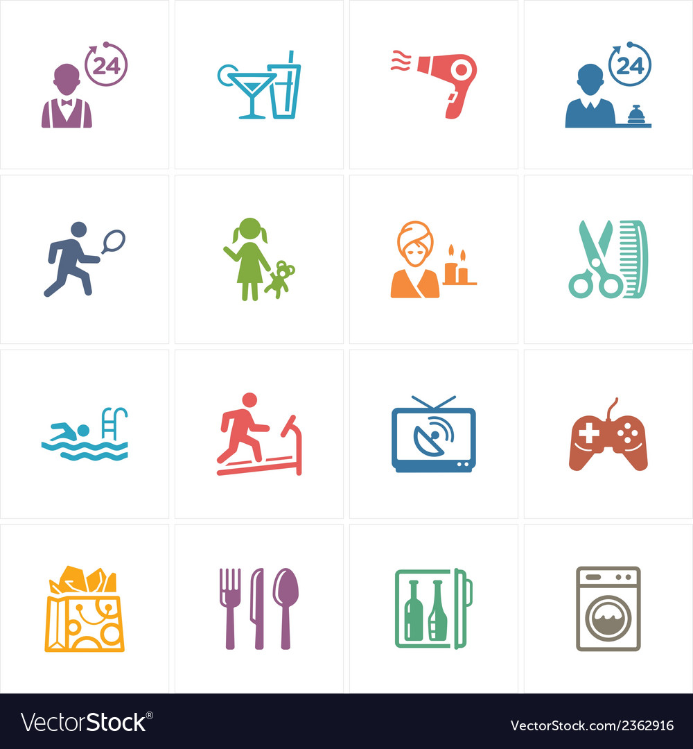 Hotel icons set - colored series vector | Price: 1 Credit (USD $1)