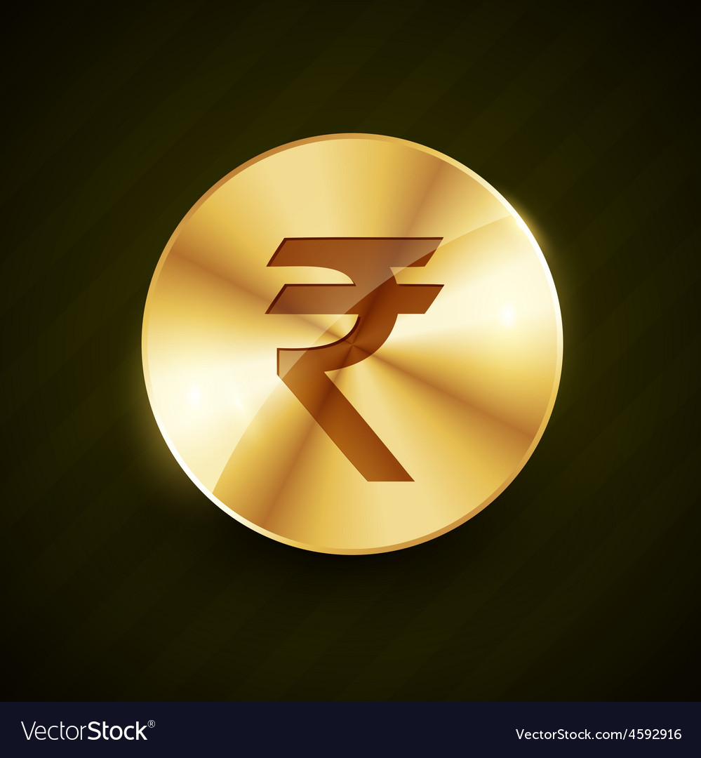 Indian ruppe gold coin with shiny effects vector | Price: 1 Credit (USD $1)