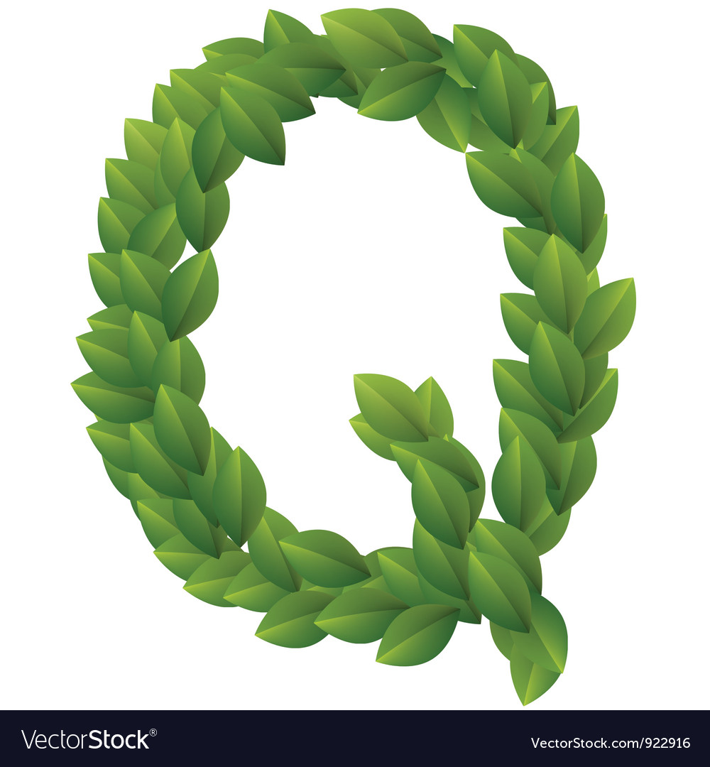 Letter q of green leaves alphabet vector | Price: 1 Credit (USD $1)