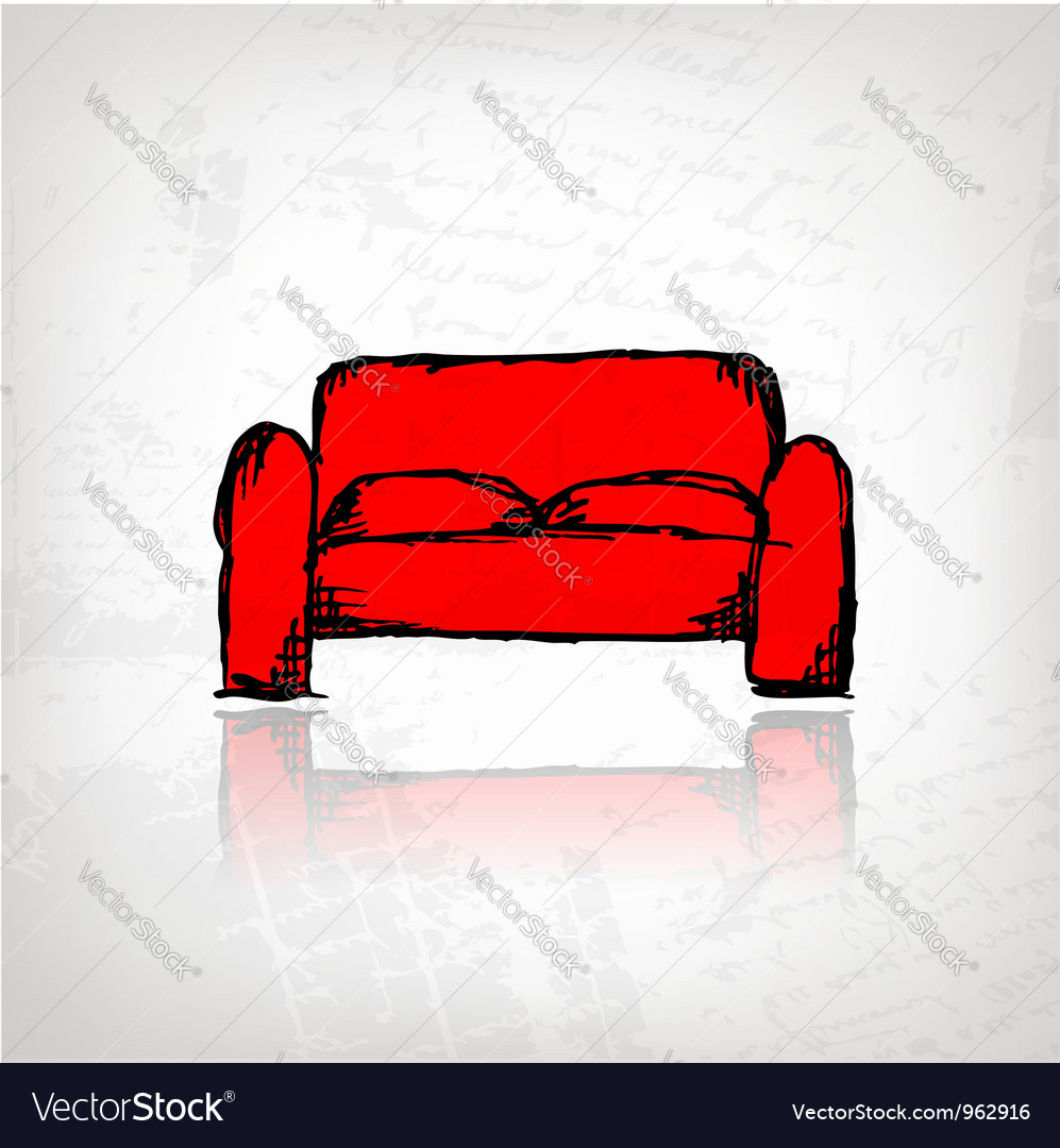 Red sofa on grunge background vector | Price: 1 Credit (USD $1)