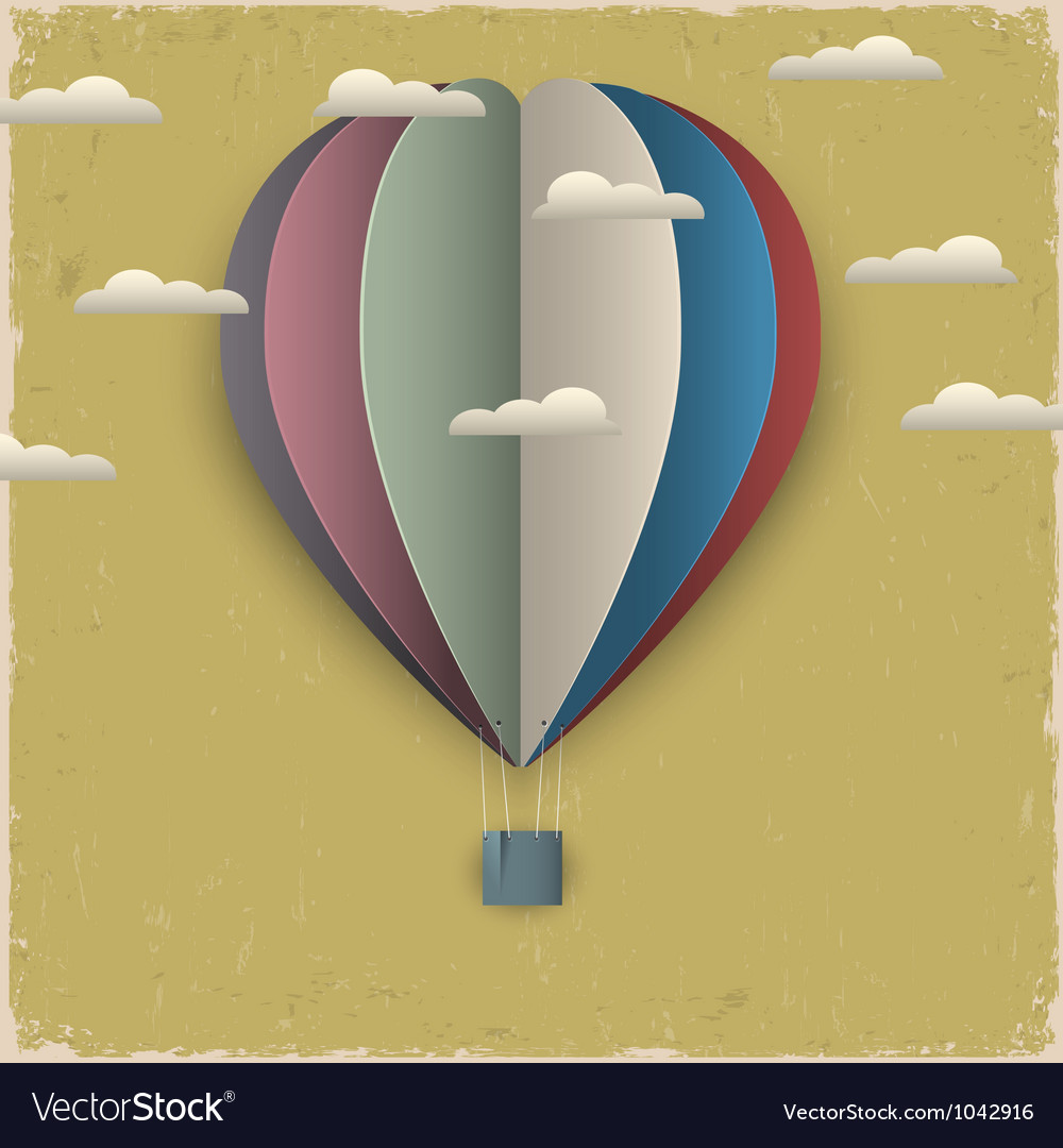 Retro hot air balloon and clouds from paper vector | Price: 1 Credit (USD $1)