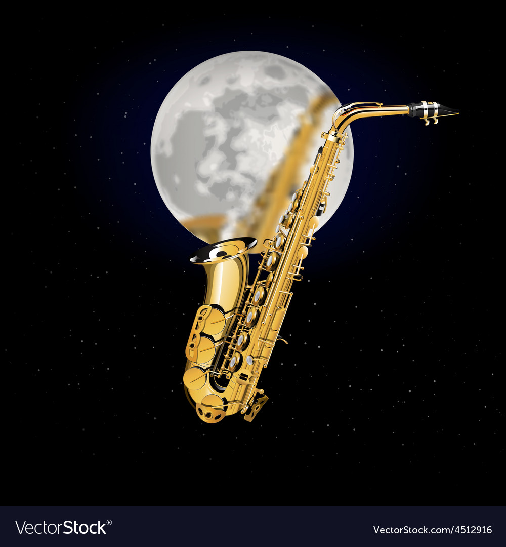 Saxophone on a background of the moon vector | Price: 3 Credit (USD $3)