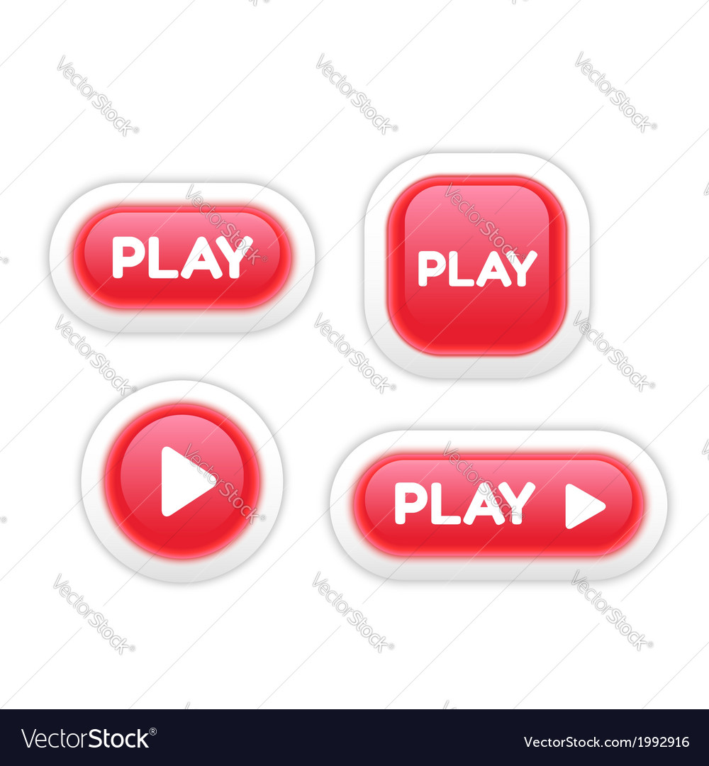 Set of play buttons isolated on white vector | Price: 1 Credit (USD $1)