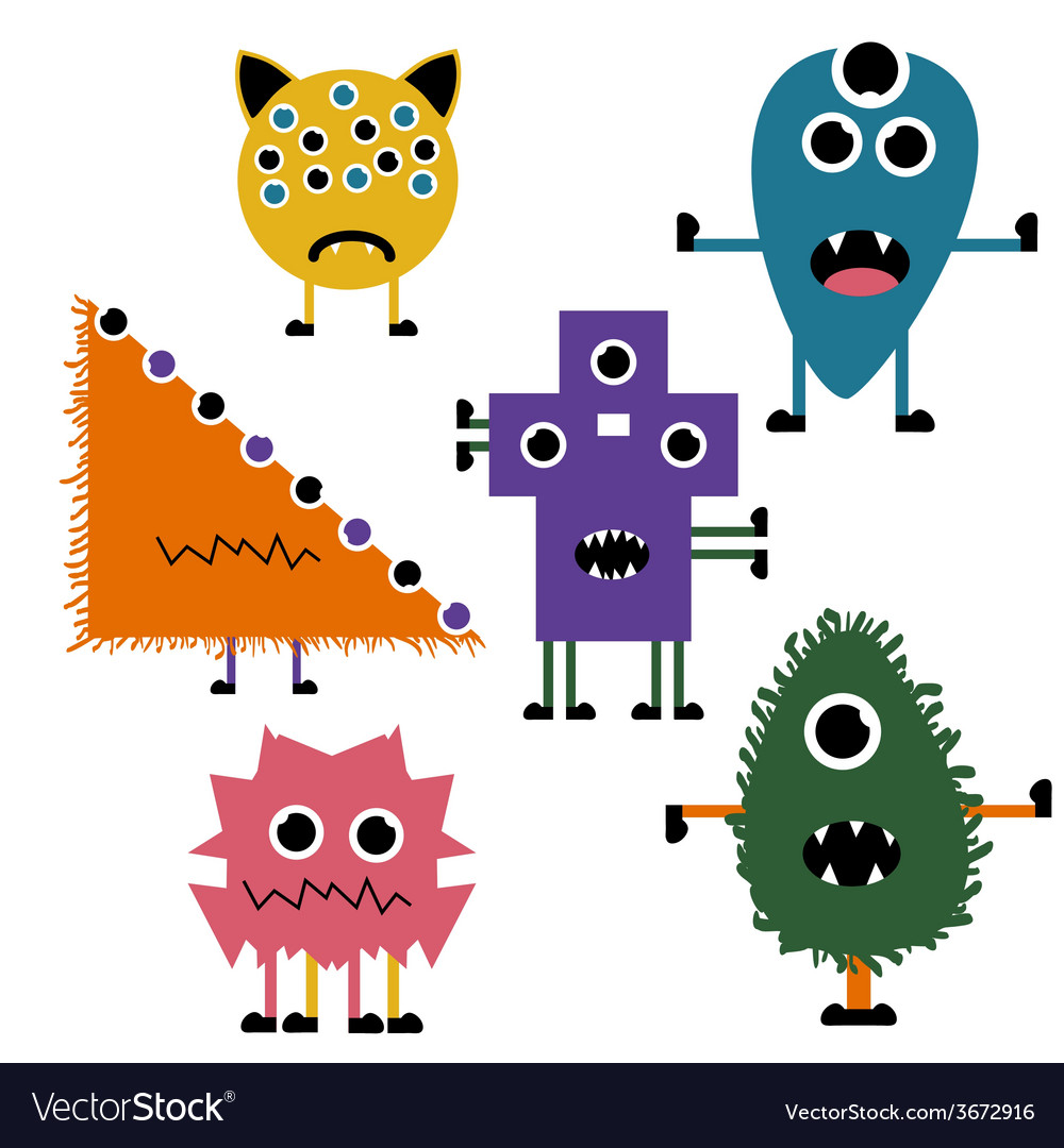 Set of simply cute monsters icon set vector | Price: 1 Credit (USD $1)