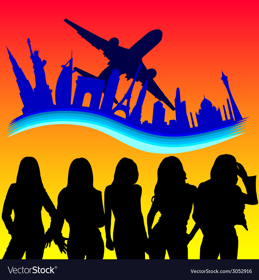 Young girl looking in plane vector   Price: 1 Credit (USD $1)