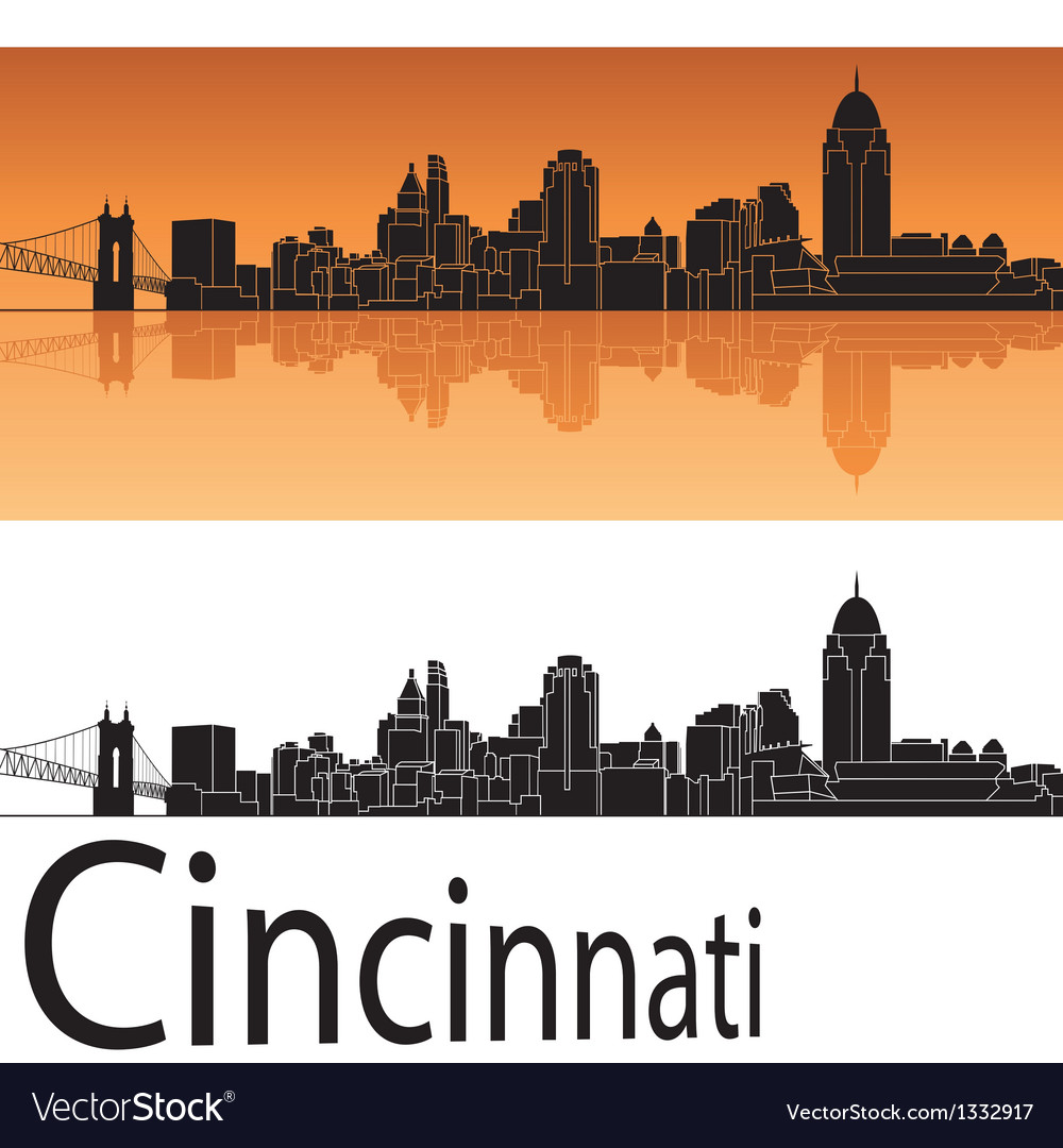 Cincinnati skyline in orange background vector | Price: 1 Credit (USD $1)