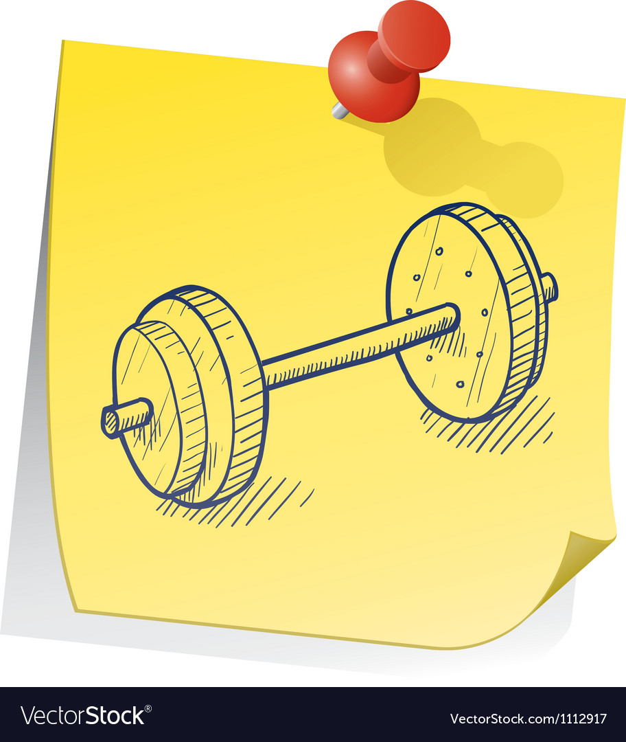 Doodle sticky note weight exercise vector | Price: 1 Credit (USD $1)