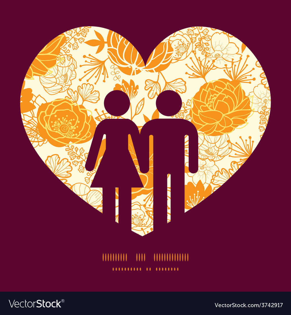 Golden art flowers couple in love vector | Price: 1 Credit (USD $1)