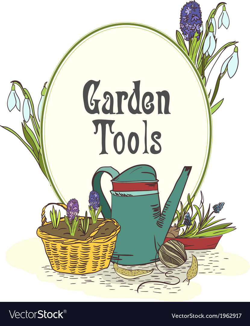 Hand drawn gardening tools emblem vector | Price: 1 Credit (USD $1)