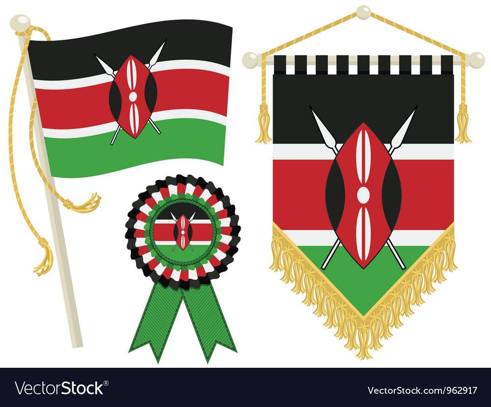 Kenya flags vector | Price: 1 Credit (USD $1)
