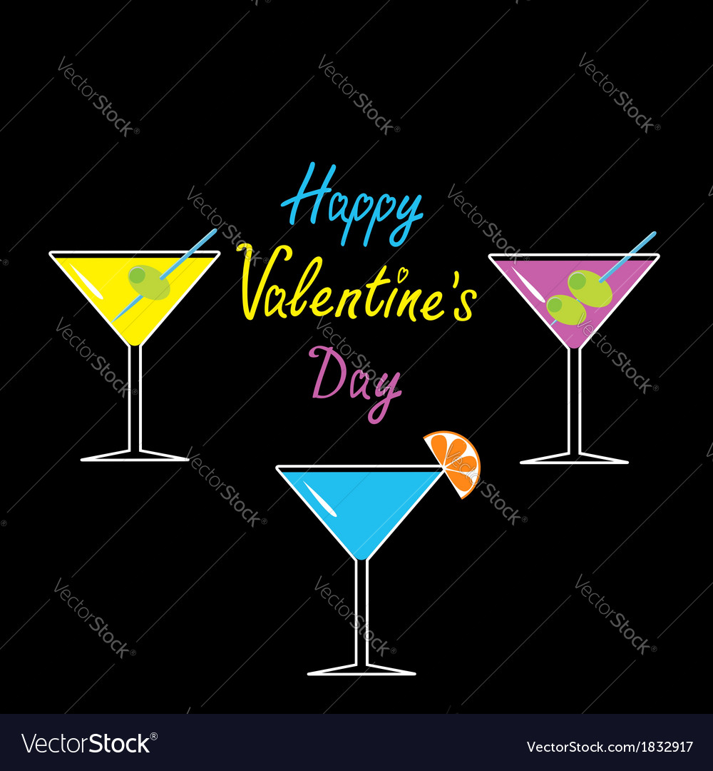 Martini glasses set happy valentines day card vector | Price: 1 Credit (USD $1)