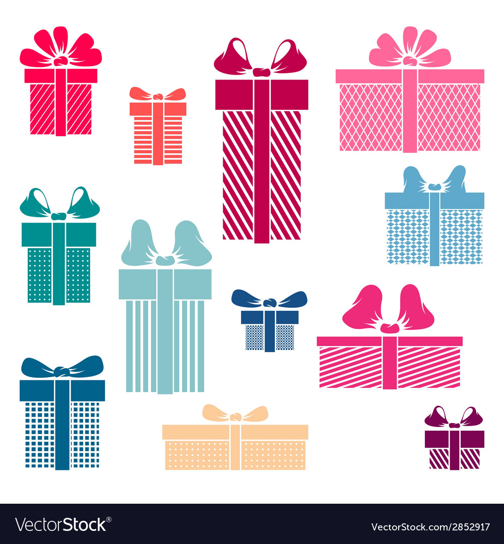 Set of coloured gift box symbols vector | Price: 1 Credit (USD $1)