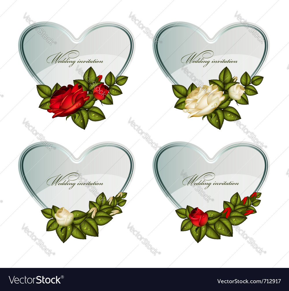 Set of silver cards heart decorated by roses vector | Price: 1 Credit (USD $1)