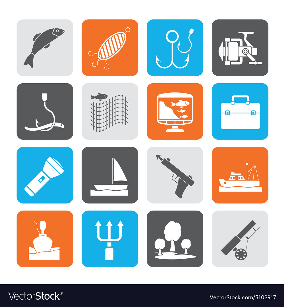 Silhouette fishing industry icons vector | Price: 1 Credit (USD $1)