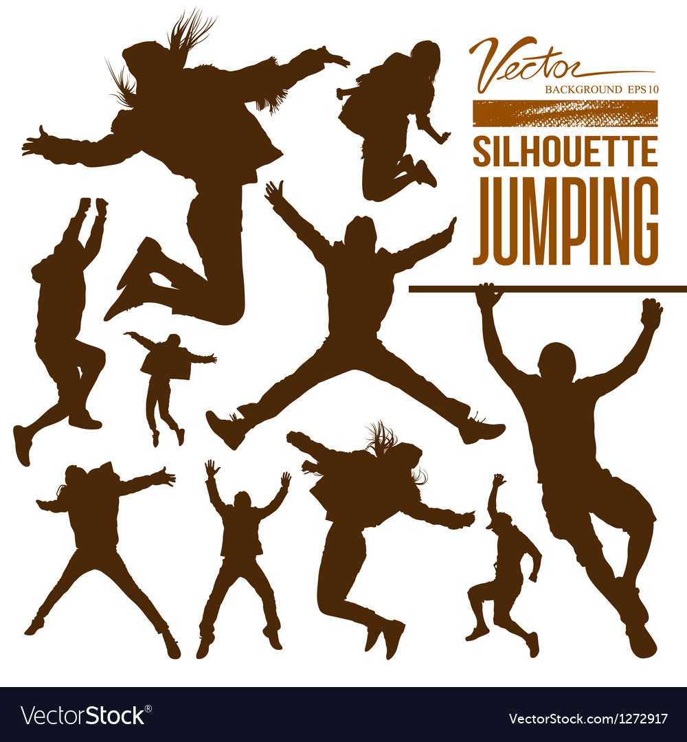 Silhouette people jumping vector