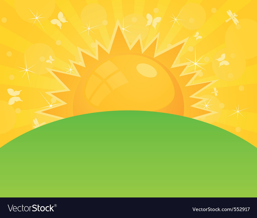 sun ascends over a field a vector illustrat vector | Price: 1 Credit (USD $1)