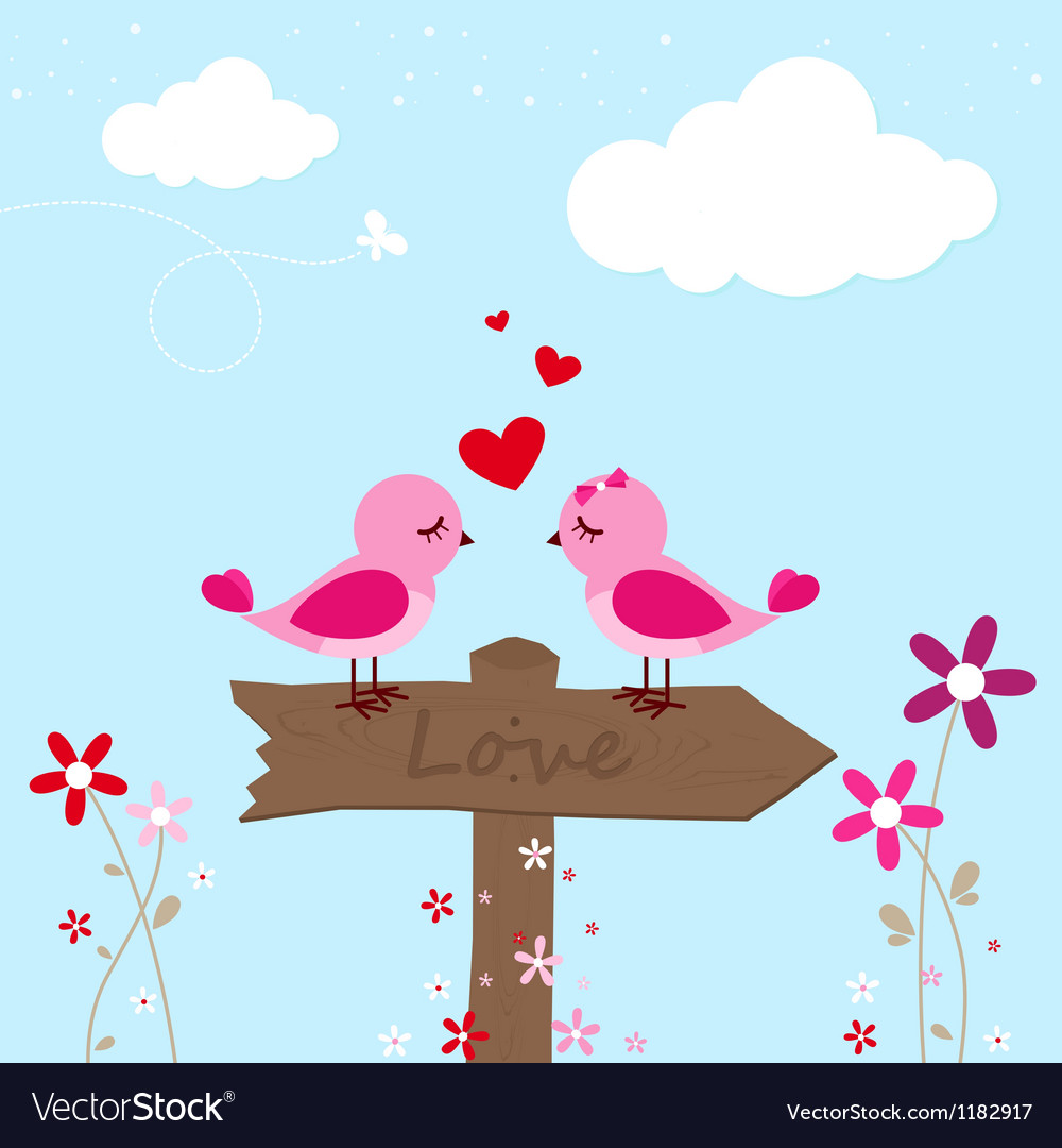 Two pink birds in love vector | Price: 1 Credit (USD $1)