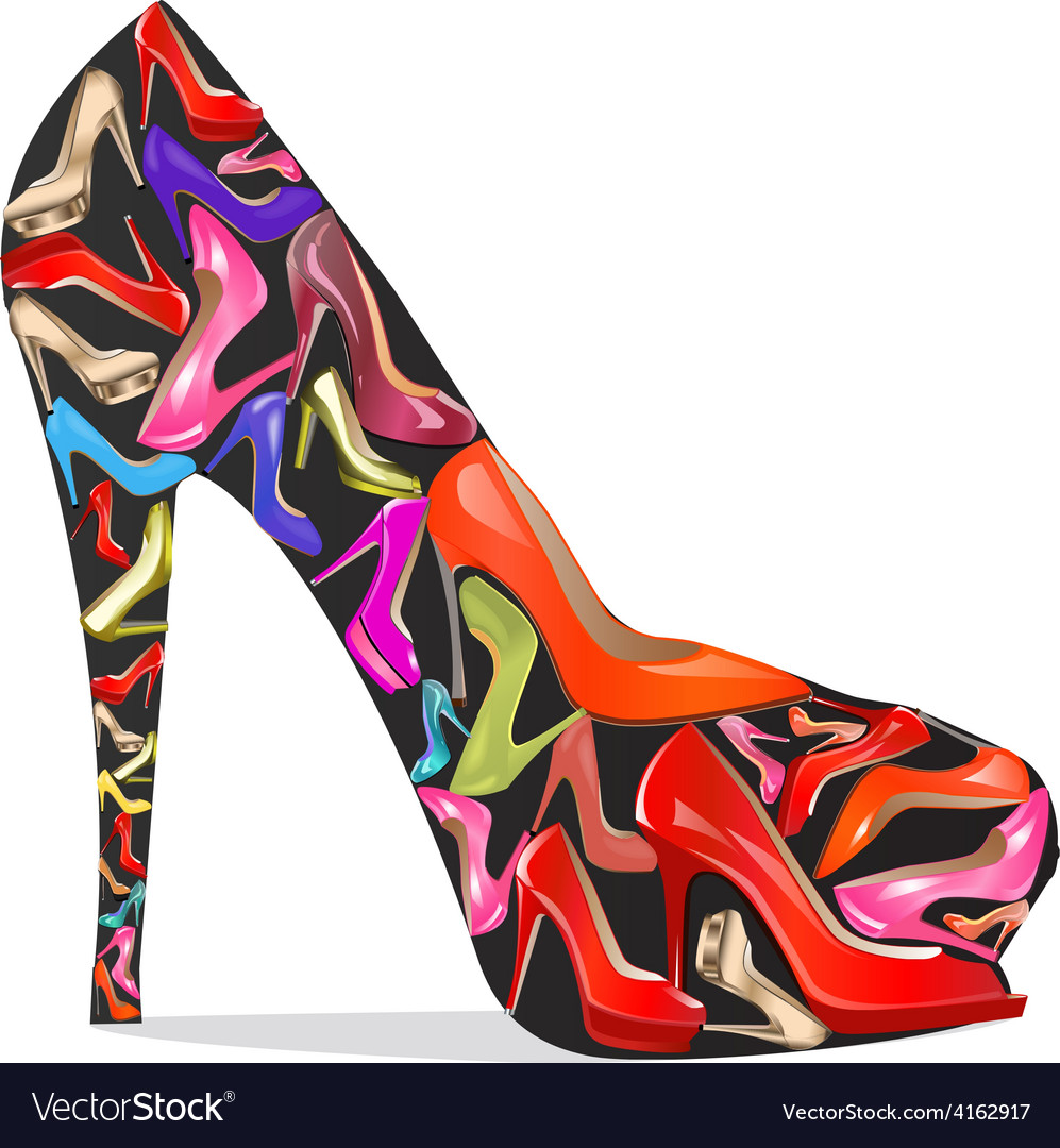 Womens shoes with the texture of the shoes vector | Price: 1 Credit (USD $1)