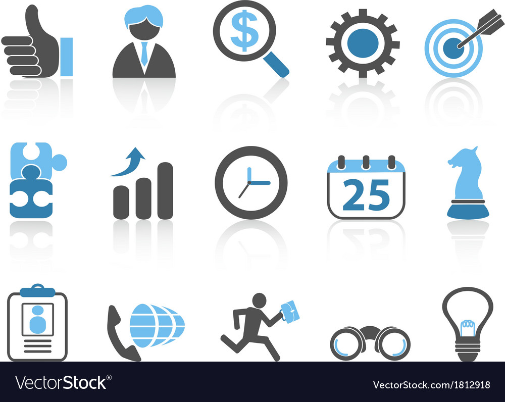 Business icons setblue series vector | Price: 1 Credit (USD $1)