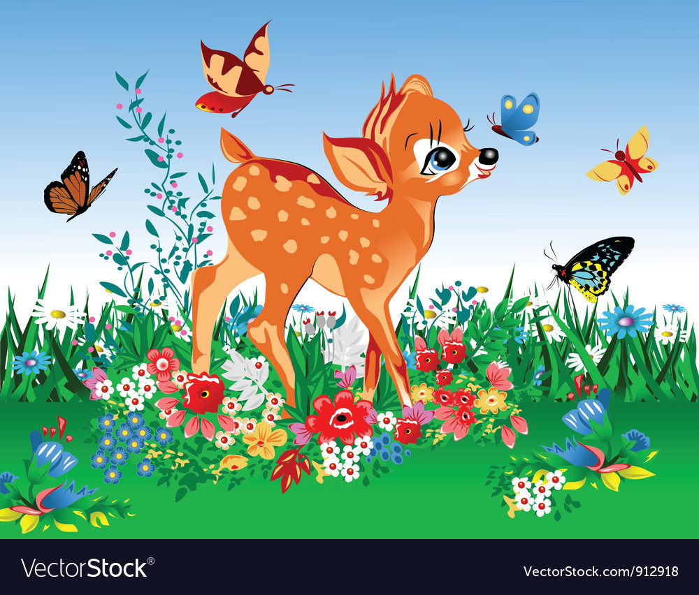 Deer in summer garden vector | Price: 3 Credit (USD $3)